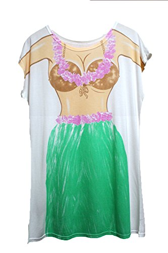 beb3bc531 Womens Funny Design Bikini Print Fun Wear Sleepwear Cover Up T-Shirt Dress  (Green)
