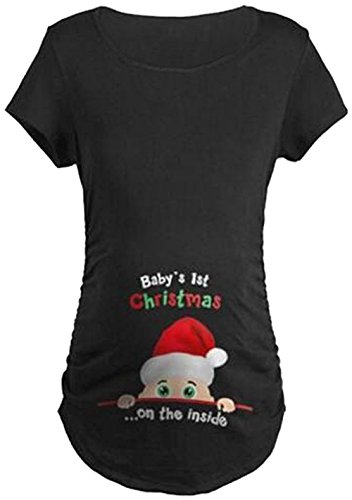 lukycild maternity cute funny tee short sleeve christmas pregnancy announcement t shirt size m black - Maternity Christmas Shirts