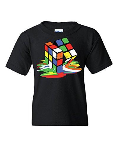 c259acd7 Melting Puzzle Cube Youth T-Shirt Funny Sheldon Big Bang Theory Tee Black L