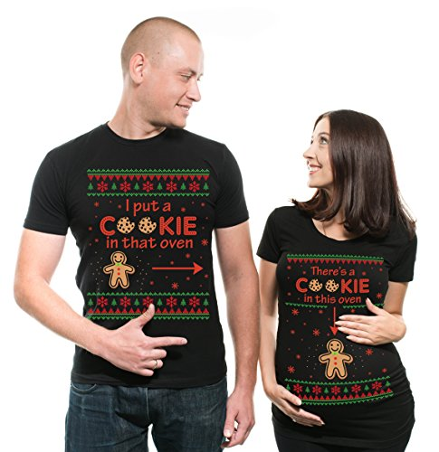 a023c725df37f Christmas Couple Matching Maternity Tees Best Christmas Gift Pregnancy Shirt  There is a cookie in that Oven Maternity Tee Shirt Gift Tee Men XL – Women  ...