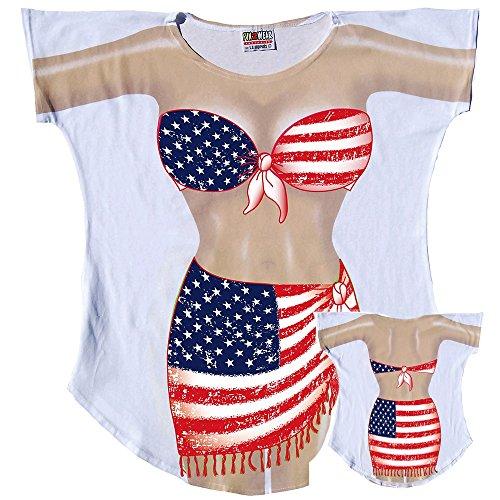 2a177bf4ea USA Flag Sarong Bikini Body Tee Shirt – Cover-Up #84 – Regular Size