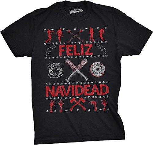 bdb984451 Mens Feliz Navidead Tshirt Zombie Funny Ugly Christmas Holiday Party Guys  Tee (Black) M